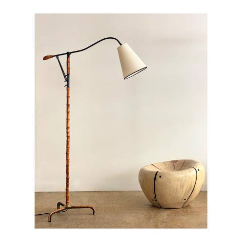 GALERIE DESPREZ BREHERET JACQUES ADNET BAMBOO FLOOR LAMP